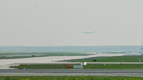 Big bird plane landing in Frankfurt Airport, FRA. Jumbo jet landing in Frankfurt Airport, FRA, Germany stock footage