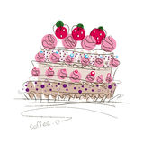 Big birthday cake, decorated with cream and strawberries, perform in graphic style, white lines and colored spots on a black backg Royalty Free Stock Photography
