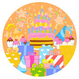 Big birthday cake and decorations Stock Image