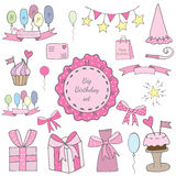 Big Birthday set elements with cake and gift, balloon and ribbon Stock Photos