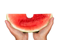 Big Bite Out Of Watermelon Royalty Free Stock Photos