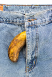 Big black banana and wilted out of mens jeans. Stock Photography