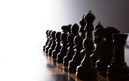 Big black chess pieces set Stock Images