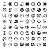 Big black clock icons set Stock Images