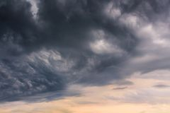 The big black clouds announce an important storm.  royalty free stock photography