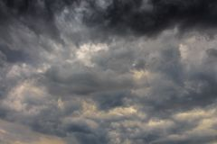 The big black clouds announce an important storm.  royalty free stock images