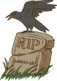 Big Black Crow and Old Gravestone vector illustration