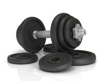 Big black dumbells over Stock Photos