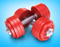 Big black dumbells over Stock Image