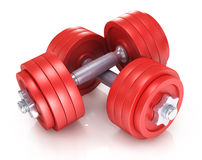 Big black dumbells over Royalty Free Stock Photo