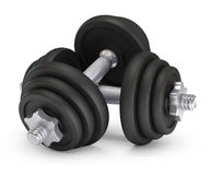 Big black dumbells over Royalty Free Stock Image