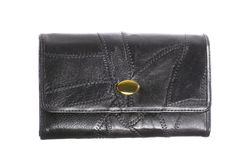 Big black female purse wallet on white Royalty Free Stock Image