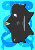 The big fish eats the small. A big, black fish is about to gobble up a small red fish in a wild yet friendly survival environment Royalty Free Stock Image