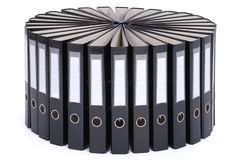 The big black folders located on a circle Stock Image