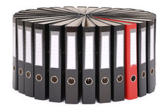 The big black folders located on a circle Stock Images