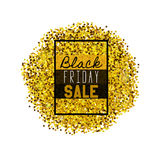 Big Black Friday Sale. Golden glitter. Sparkles on white background. Glowing elements. Banner Stock Photos