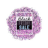 Big Black Friday Sale. Pink glitter. Sparkles on white background Stock Photos