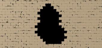 Black hole in a brick wall 3D render. Big Black hole in a brick wall 3D render Royalty Free Stock Photography