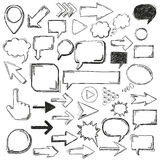 Big Black Oldschool Elements Bubbles Arrows Markers. Handdrawn communication elements on the white background Stock Photography