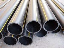 Big black pipe closeup plastic large diameter for the repair Stock Images