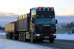 Big Black Scania 164L Combination Transports Sugar Beet Royalty Free Stock Photo