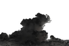 Big black smoke and cloud isolated on white Royalty Free Stock Photos