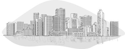 Big black and white city landscape Royalty Free Stock Photos