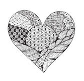 Big black and white zentangle heart Royalty Free Stock Image