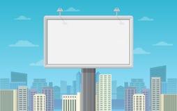 Big blank billboard in cityscape background shape. Vector illustration. Stock Photo