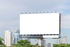 Blank billboard ready for new advertisement with city view backg Stock Photography