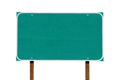Big Blank Green Highway Sign Isolated Stock Images