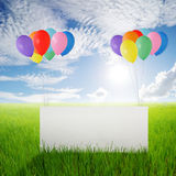 Big blank paper and Color balloons in Rice fields and Sun sky Royalty Free Stock Photos