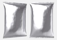 Free Big Blank Silver Foil Plastic Pillow Bag Stock Image - 64188161