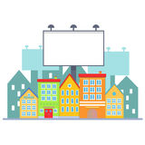 Big blank urban billboard over small city town street buildings. Cartoon Billboard advertisement commercial blank. Big blank urban billboard over small city Stock Images