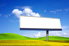 Big blanked bilboard. In summer landscape Royalty Free Stock Photos