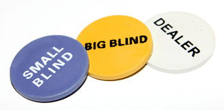 Big blind, small blind and dealer Stock Image