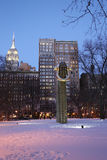 Big Bling public sculpture by American artist Martin Puryear in Madison Square Park. NEW YORK - JANUARY 8, 2017: Big Bling public sculpture by American artist royalty free stock photo