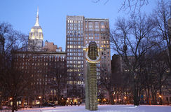 Big Bling public sculpture by American artist Martin Puryear in Madison Square Park. NEW YORK - JANUARY 8, 2017: Big Bling public sculpture by American artist stock images
