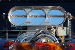 BIg Block. A close up of a blower on a dragster Stock Photos