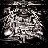 Big Block Chevrolet Engine in Vintage Muscle Car Stock Images