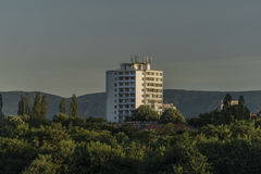 Big block of flats in Usti nad Labem. City in sunrise morning Royalty Free Stock Photo