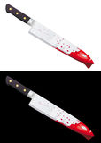 Big bloody knife isolated. On white and black background Royalty Free Stock Image