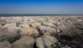 Big bloulders rocks. Near the sea royalty free stock images