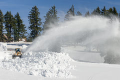 Big Blower. With 10-15 feet of snow a year, snow blowing is a full time activity to keep the roads clear for visitors at Crater Lake National Park. Oregon Royalty Free Stock Photos