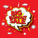 Big blowout sale pop up cartoon banner Stock Photo