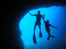 Big blue. Underwatercave in greece, cyclades Stock Photo