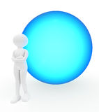 Big blue ball and person Stock Photography