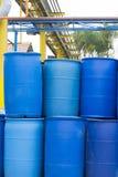 Big Blue Barrels Stock Images