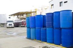 Big Blue Barrels Royalty Free Stock Images