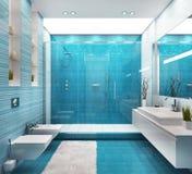Big blue bathroom design with shower. Big blue bathroom design with large shower vector illustration